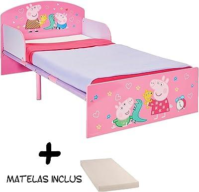 BEBEGAVROCHE Cama Infantil Madera y Metal Peppa Pig + colchón