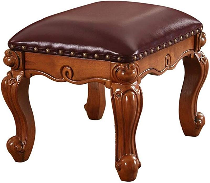 Footstool Ottomans Premium Quality Comfort Luxury European Style Solid Wood Footstool Leather Sofa Dressing Stool Dining Chair Meal Stool Change Shoes Stool Upholstered Footstool For Home Commercial