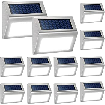 JACKYLED Outdoor Weatherproof LED  Solar Step Lights with Larger-Storage 2-Pack