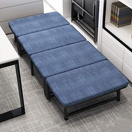 Cama plegable portátil Cama plegable plegable con colchón ajustable Diseño Fácil almacenamiento de ahorro de espacio for la oficina siesta o Inicio Sin Asamblea ( Color : Azul , Size : 190x100X30cm )