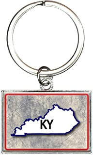 Kentucky KY State Outline on Faded Blue Rectangle Keychain Key Ring