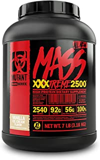 Mutant Mass XXXtreme Gainer – Whey Protein Powder – Build Muscle Size and Strength – High Density Clean Calories – 7 lbs – Vanilla Ice Cream