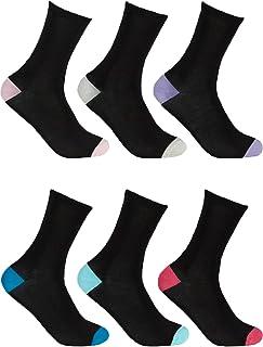 Ladies Undercover Bamboo Mid Calf Striped/Heel Contrast Sock