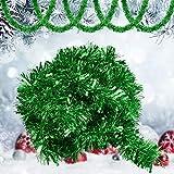 GOLRISEN Espumillón de Navidad 10 Metros, Espumillón Verde Brillo, Decoración para Árbol Navidad, Espumillón Decorativo Navideño, Adorno de Navidad para Adornar Puertas de Casa, Chimeneas o Espejos