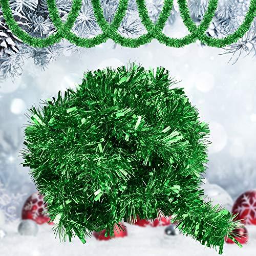 GOLRISEN Espumillón de Navidad 10 Metros, Espumillón Verde Brillo, Decoración para Árbol...