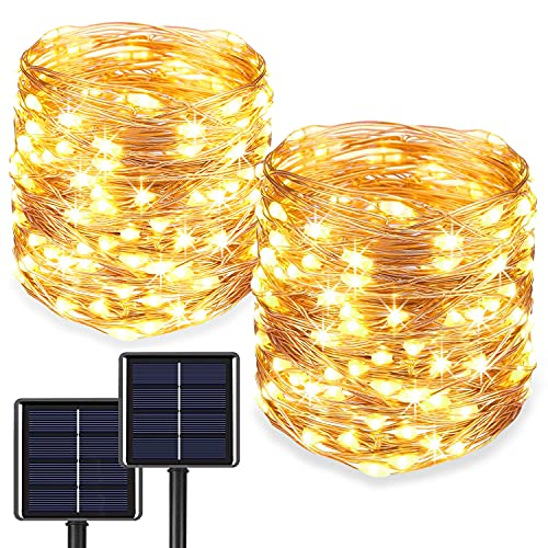 2-Pack Solar Fairy Lights Outdoor, Super Bright 100LED Bright Lights with 800 Mah Battery Backup, Waterproof 8 Modes String Lights for Christmas Tree, Party Wedding Garden Patio Decoration