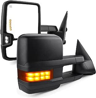 YITAMOTOR Towing Mirrors compatible for 2003-2006 Chevy Silverado Tahoe Suburban Avalanche GMC Sierra Yukon Cadillac Escalade Power Heated LED Signal Lamp Clearance Light Pair Mirrors