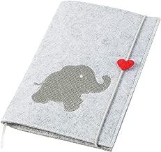   2in1: U-Heft H/ülle und Impfpass H/ülle Uheft H/ülle Hase /& Elefant aus Filz mit Druckverschluss hellgrau//blau Farbe w/ählbar