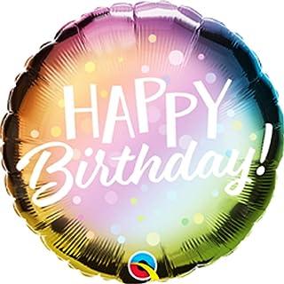 Qualatex Birthday Metallic Ombre & Dots Round Foil Balloon, 18-inch Size