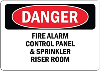 Danger Warning - Fire Alarm Control Panel and Sprinkler Riser Room - Large Metal Aluminum Sign Mark Shopping Mall Industrial Mark 18 x 12 inches.
