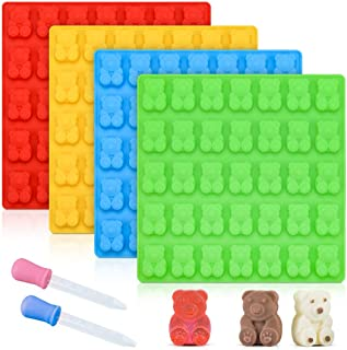 Gummy Bear Molds Candy Molds - Large Gummy Molds 1 Inch Bear Chocolate Molds Silicone 4 Pack LFGB Pinch Test Approved Best...