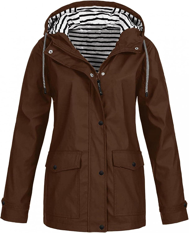 Hoodies for Womens Lightweight Raincoat Waterproof Sweatshirts Tops Trench Jackets Casual Plus Size Active Outdoor Coat