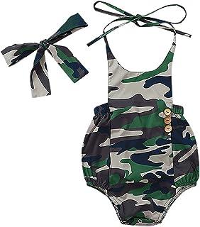 Iuhan Newborn Girls Bodysuit for Infant Baby Camouflage Strap Romper Kids Toddler Sleeveless Clothes Palysuit Summer