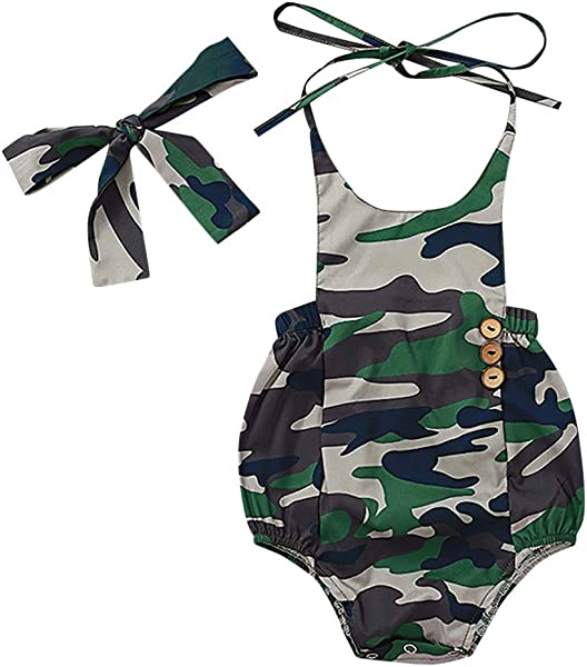 Baby Toddler Newborn Girls Boys Rompers Beyonds Camouflage Hair Bodysuit Soft Infant Sleeveless Jumpsuit Outfits Baby Onesies Playsuit Pants Clothes Summer