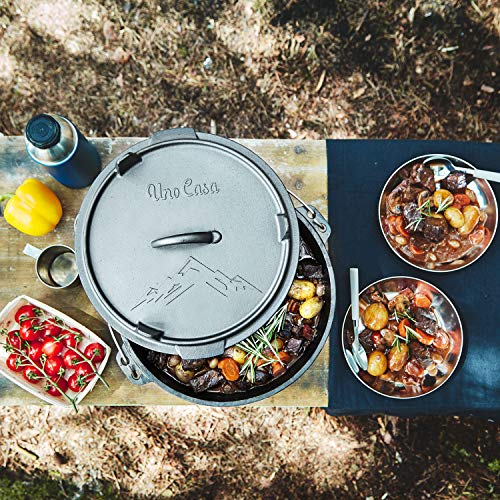 Uno Casa Olla de Hierro Fundido para Camping – Ollas Cocina con Tapa Curada 5,6 litros – Vajilla Camping – Accesorios Camping