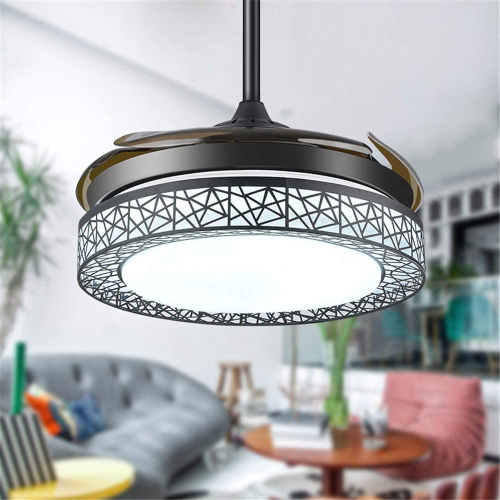 Amazon Com Niuyao Circular Ceiling Fan Light With Retractable Fan Blade Simple Remote Control Led Semi Mount Fixture Lamp Indoor Decoration Bulb Included 19 5 Kitchen Dining