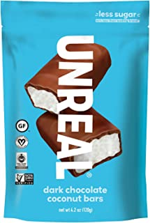 UNREAL Dark Chocolate Coconut Bars | Certified Vegan. Less Sugar, Gluten Free | 6 Bags