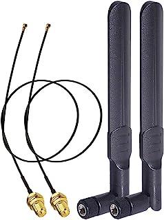 Bingfu WLAN Antenna 2.4GHz 5GHz 5.8GHz 8dBi RP-SMA Plug Antenna & 25cm U.FL IPX IPEX MHF4 to RP-SMA Socket Extension Cable...
