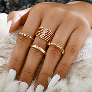 Missgrace 4 Piece Gold Vintage Rhinestones Knuckle Rings for Girls Stackable Joint Finger Ring Set for Women (Style 8)