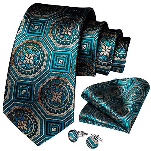 WOXHY Cravate Homme Soie Bleu Sarcelle Nouveauté Mariage De Cravate Boutons De Manchette Handy Set Design Party Fashion