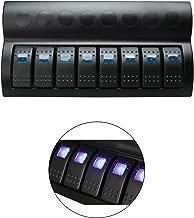 HYDDNice Waterproof Switch Panel 8 Gang Rocker Switch Panel with Blue LED Indicators Circuit Breaker Kit for Boat Marine Bridge Control Car Truck