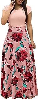 Womens Long Sleeve Maxi Dress Round Neck Floral Print Casual Tunic Long Maxi Dress