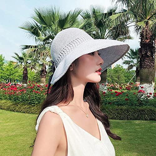 QND,Sombrero,Summer Beach Sombrero de Pescador Gorra de ala Ancha Bowknot Protección Solar Plegable Viaje, Gris, China