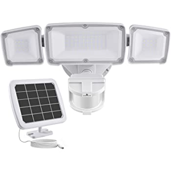 GLORIOUS-LITE Solar Security Light Outdoor, 1600LM Solar LED Motion Sensor Light with 3 Adjustable Head, 5500K, IP65 Waterproof Flood Light for Backyard, Pathway & Patio