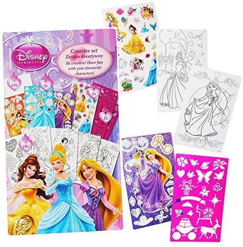 alles-meine.de GmbH Malbuch / Malset -  Disney Princess - Prinzessin  mit Schablonen + Sticker / Aufkleber + Motiv Papierbögen - Malvorlagen zum Ausmalen Malspaß - für Mädchen ..