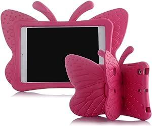 Ipad 5/6/Air/Air 2 Case,ER CHEN Kids Light Weight Cute Butterfly Design Shock Proof EVA Foam Series Case Compatible for Ipad 5/6/Air/Air 2(Rose)
