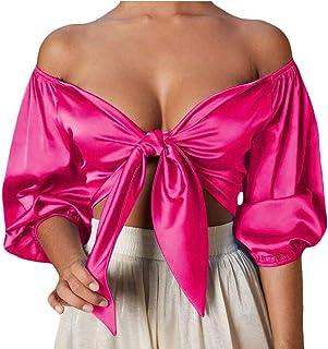 SHOWNO Women's Cold Shoulder V Neck Tank Top Long Sleeve T-Shirt Crop Tops Blouse