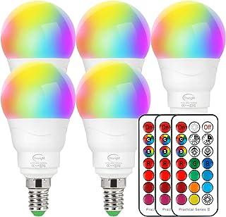 LED-lampa E14 RGBW, uppsättning med 5 LED färgförändring glödlampa 5 watt (ersätter 40 W), dimbara färger LED-glödlampa, f...