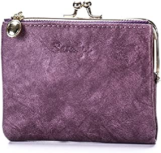 Contracted Leather Wallet Elegant Billfold Purse (Color : Purple)
