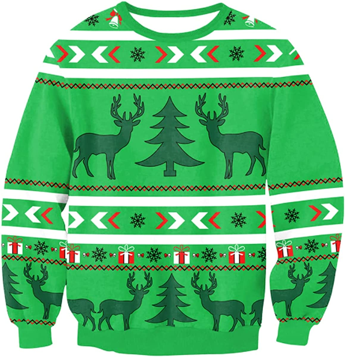 SENDEREAL Men's Women's Christmas Ugly Sweater Christmas Funny Print Long Sleeve Pullover Pullover Sweatshirt