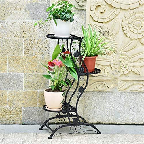 Style Européen Fleur Cadre Blanc Salon Intérieur Multi - Étagère Fleur Étagère Balcon Bonsai Cadre (Couleur : Noir, taille : 45 * 27 * 140cm)