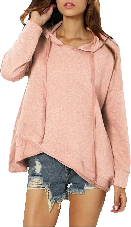 WOCACHI Women's Hooded Sweater Irregular Hem Solid Color Hoodies Sweatshirts Casual Fashion Hoodie Pullover