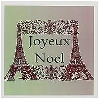 PSクリスマス–Joyeux Noel EiffelタワーFrench Merry Christmas–グリーティングカード Set of 12 Greeting Cards