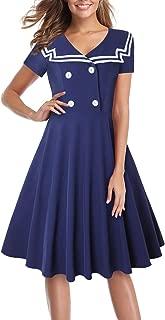 MISSJOY Halloween Sailor Dress for Women Fit and Flare Uniform Skirt Nautical A Line Dress