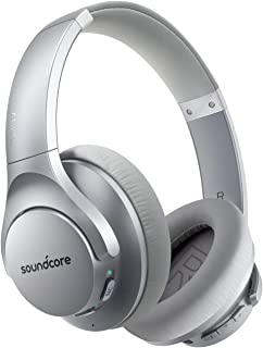 Anker Soundcore Life Q20 Hybrid Active Noise Cancelling Headphones, Wireless Over Ear Bluetooth Headphones with 40H Playtime, Hi-Res Audio, Deep Bass, Memory Foam Ear Cups and Headband Silver A3025041
