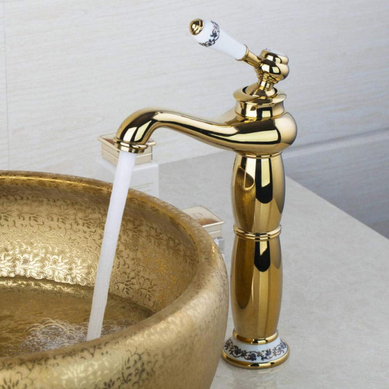 Gorheh Hoch Antik Messing Chrom Waschtischmischer Goldene Badarmaturen Einhand Einlochmontage Kalt- & Warmwasserhahn