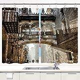 YUDILINSA Cortinas para Ventana de Cocina,Barrio Gótico La Parte Central y más Antigua del Casco Antiguo de Barcelona España,Cortinas Cortas con Decoración de Ganchos para Baño,Paquete de 2,140x100cm