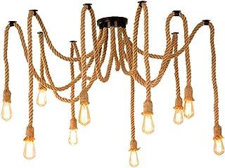 Araña de araña de cuerda de cáñamo estilo retro sala de estar comedor bar balcón/lámparas no incluyen bombillas