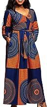 VERWIN African Print V Neck High Waist Color Block Evening Dress Wrap Maxi Dress