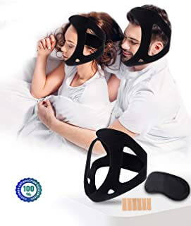Coobst Anti Snoring Chin Strap,Breathable and Adjustable Snoring Mask Sleep Apnea Devices Work with Cpap Machine