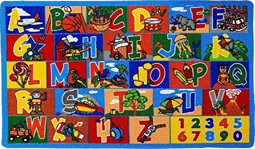 "Mybecca Kids Rug ABC-1 Numbers Children Area Rug 5'X7' - Non Skid Gel Backing (59"" x 82"")"