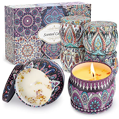 Aukiita Velas Aromaticas, 6 x 4Oz Velas Perfumadas Cera Soja Portátile para Mujer, Regalos para Día de Madre, San Valentín, Cumpleaños, Baño, Yoga y Decoración Hogar