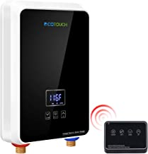 ECOTOUCH Tankless Water Heater Electric, 1.5 GPM On Demand Hot Water Heater with Remote Control Digital Dispaly Energy Efficient 5.5kW at 240V, Black