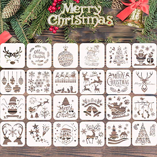 24 Pcs Christmas Painting Stencils Craft - Reusable Plastic Template for Art Drawing, Wood, Window, Glass Door, Car Body, Greeting Cards, Albums,Scrapbook, Notebook, Journal, Wall, Face Cookie Decor