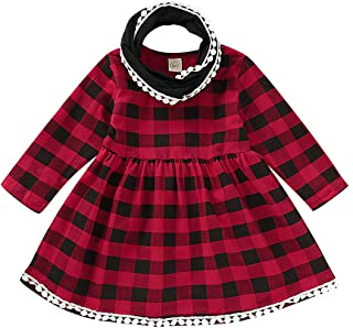 YOUNGER STAR Infant Baby Kids Girl Christmas Costume Red Checked Party Princess Tassels Dresses Scarf Outfit Set