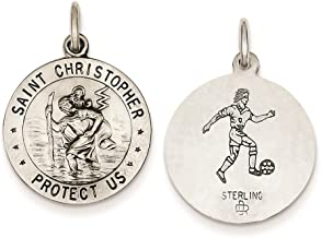 925 Sterling Silver Antique Saint Christopher Soccer Medal Charm Pendant 23mm x 18mm